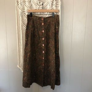 Vintage neutral floral button down skirt size L